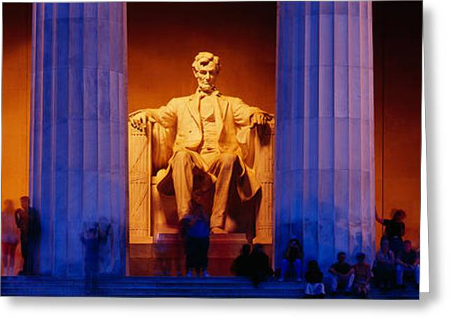 Presidential Photographs Greeting Cards - Lincoln Memorial, Washington Dc Greeting Card by Panoramic Images