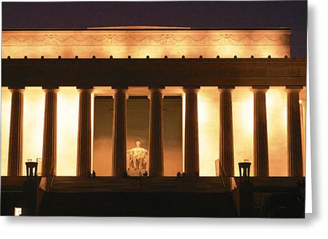 Historic Statue Greeting Cards - Lincoln Memorial Washington Dc Usa Greeting Card by Panoramic Images