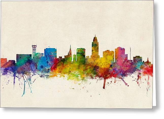 Usa Digital Art Greeting Cards - Lincoln Nebraska Skyline Greeting Card by Michael Tompsett