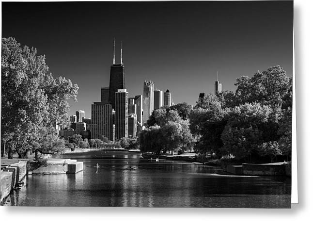 Lincoln Photographs Greeting Cards - Lincoln Park Lagoon Chicago B W Greeting Card by Steve Gadomski
