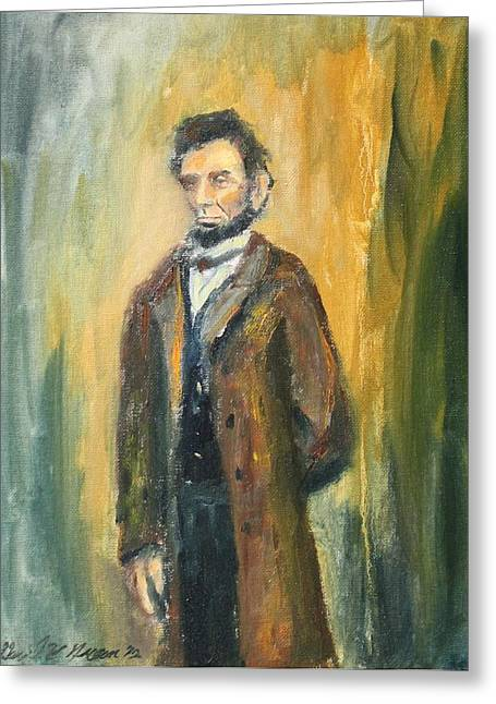Recently Sold -  - Civil Greeting Cards - Lincoln Portrait #10 Greeting Card by Daniel W Green