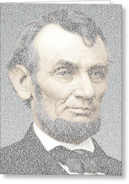 Abe Drawings Greeting Cards - Lincoln Quotes Mosaic Greeting Card by Paul Van Scott