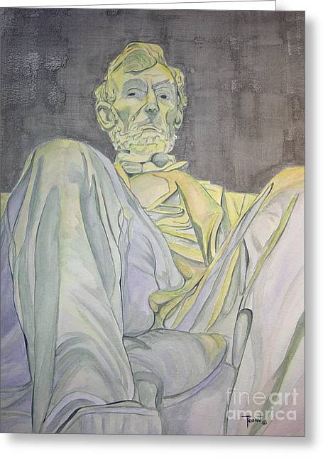 Statue Portrait Paintings Greeting Cards - Lincoln Greeting Card by Regan J Smith