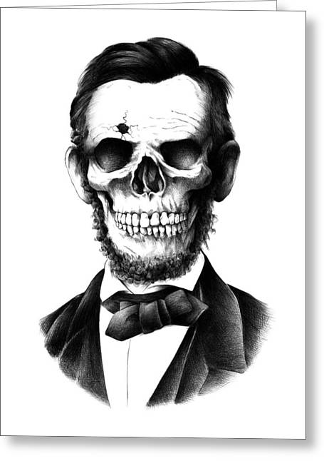 Drawings Greeting Cards - Lincoln Skull Greeting Card by BioWorkZ