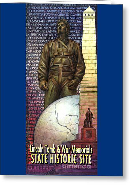 Jane Bucci Greeting Cards - Lincoln Tomb and War Memorials Street Banners Korean War Pilot Greeting Card by Jane Bucci