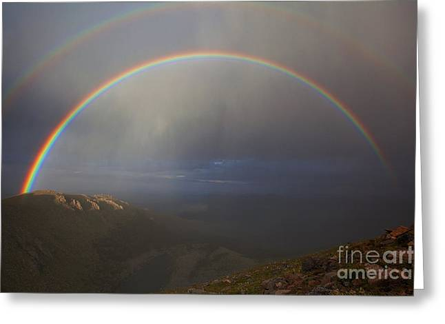 Double Rainbow Greeting Cards - Lincolns Double Greeting Card by Jim Garrison