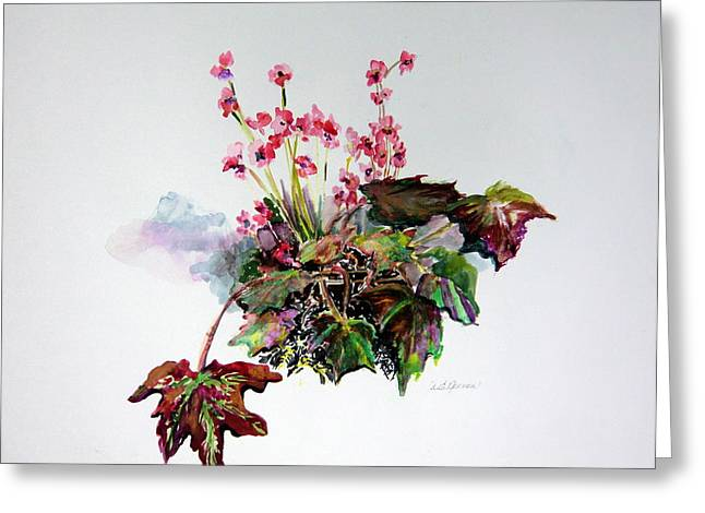 Begonias Greeting Cards - Linda Begonias Original Greeting Card by Mindy Newman
