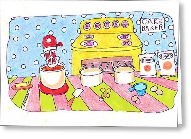 Pan Cake Greeting Cards - Linda Blondheim Art Toons Cake baker Greeting Card by Linda Blondheim