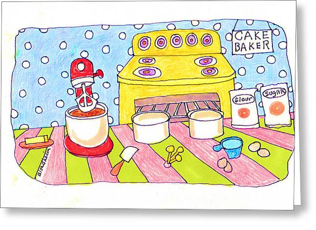 Flour Drawings Greeting Cards - Linda Blondheim Art Toons Cake baker Greeting Card by Linda Blondheim