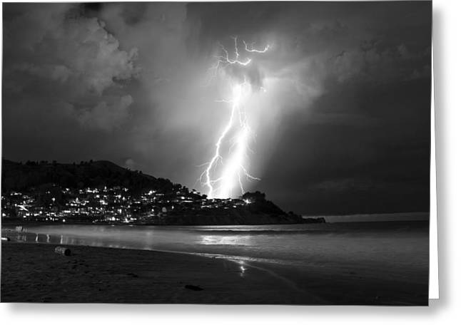 Pacific Ocean Prints Greeting Cards - Linda Mar Lightning Greeting Card by Bryant Coffey