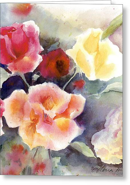 Loose Greeting Cards - Roses in the Garden Greeting Card by Maria Hunt