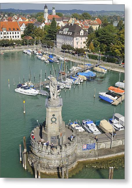 Sailboat Photos Greeting Cards - Lindau harbor with boats and town view from above Greeting Card by Matthias Hauser