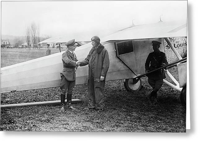 Lindbergh And 'spirit Of St Louis' Greeting Card by Library Of Congress