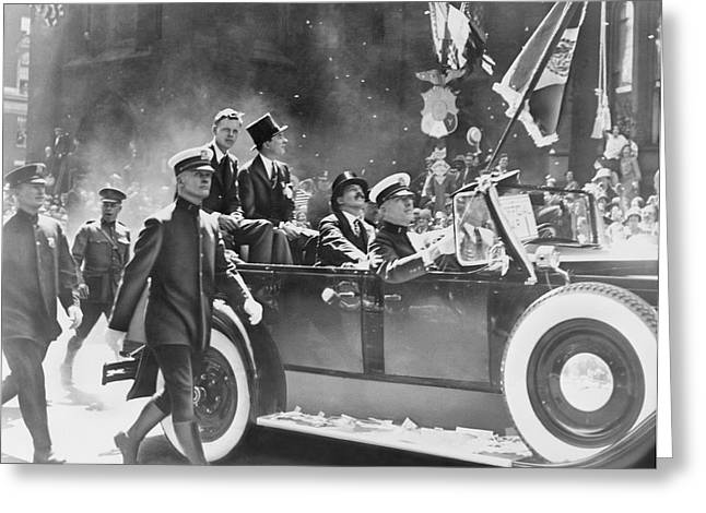 Ticker Tape Parade Greeting Cards - Lindberghs ticker-tape parade, 1927 Greeting Card by Science Photo Library