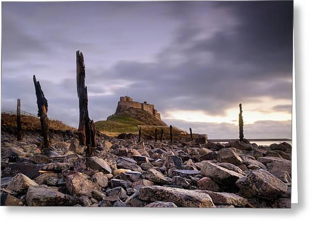 Farne Islands Greeting Cards - Lindesfarne Castle Sunrise Greeting Card by Chris Frost
