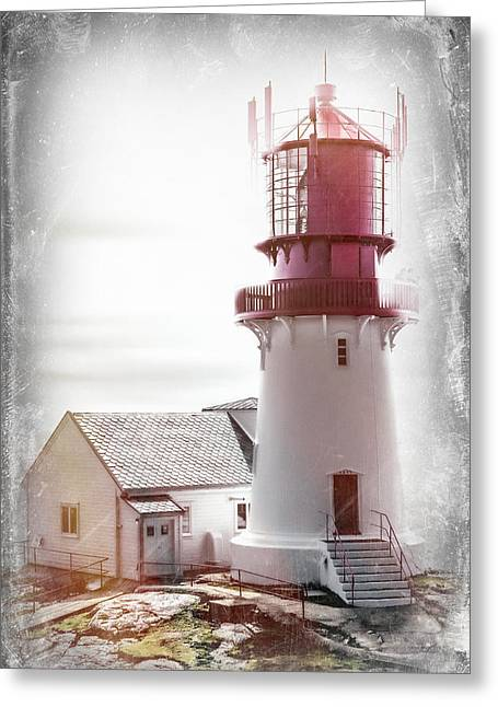 Locations Greeting Cards - Lindesnes Lighthouse - Vintage Greeting Card by Erik Brede