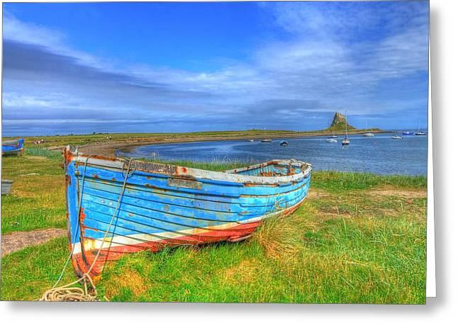 Tidal Photographs Digital Art Greeting Cards - Lindisfarne by the Sea Greeting Card by John Kelly