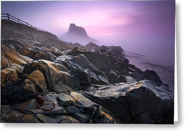 Holy Ring Greeting Cards - Lindisfarne Castle Dawn Greeting Card by Shaun Walby