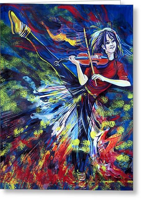 Anna Duyunova Greeting Cards - Lindsey Stirling. Dancing Violinist Greeting Card by Anna  Duyunova