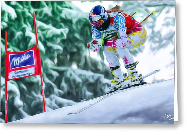 Ski Racing Greeting Cards - Lindsey Vonn Greeting Card by Don Olea