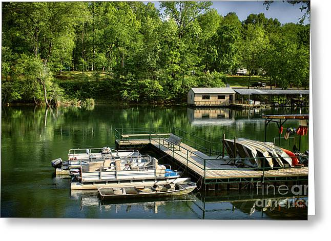 Heber Springs Greeting Cards - Lindseys Dock Greeting Card by Tammy Chesney