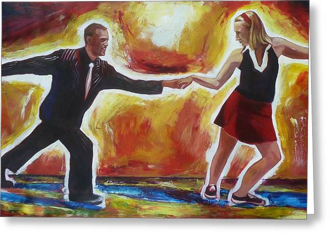 Kitchener Paintings Greeting Cards - Lindy Hop in Waterloo Greeting Card by Sheila Diemert