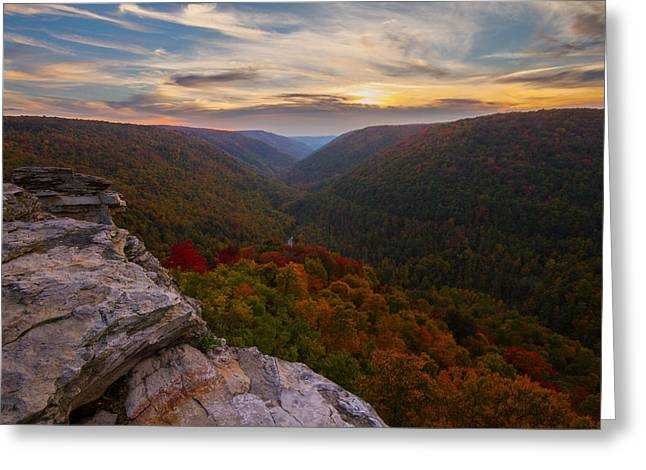 Lindy Greeting Cards - Lindy Point sunset at Blackwater Falls in West Virginia Greeting Card by Jetson Nguyen