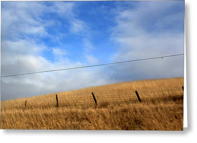 Crooked Fence Greeting Cards - Line Across the Sky 2 Greeting Card by Ron McMath