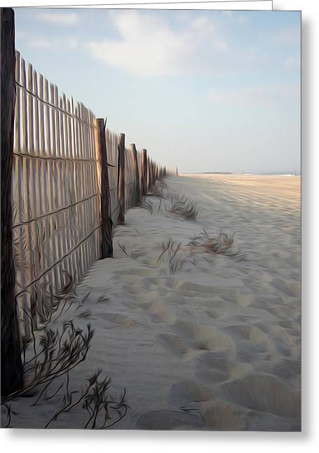 Sand Fences Greeting Cards - Line in the Sand Greeting Card by Kelvin Booker