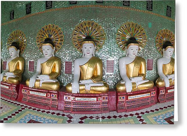 Mandalay Greeting Cards - Line Of Buddhas At Umin Thounzeh Temple Greeting Card by Panoramic Images