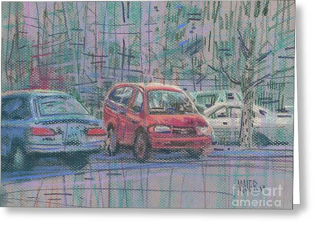 Auto Drawings Greeting Cards - Line of Cars Greeting Card by Donald Maier