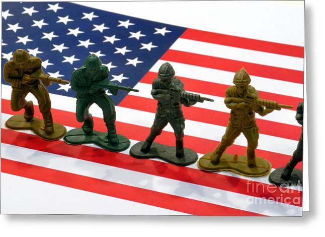 Deployment Greeting Cards - Line of Toy Soldiers on American Flag Crisp Depth of Field Greeting Card by Amy Cicconi