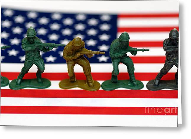 Deployment Greeting Cards - Line of Toy Soldiers on American Flag Shallow Depth of Field Greeting Card by Amy Cicconi