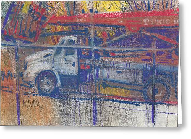 Lines Pastels Greeting Cards - Line Truck Greeting Card by Donald Maier
