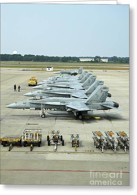 Jet Greeting Cards - Line-up Of Fa-18 Hornets On The Ramp Greeting Card by Riccardo Niccoli