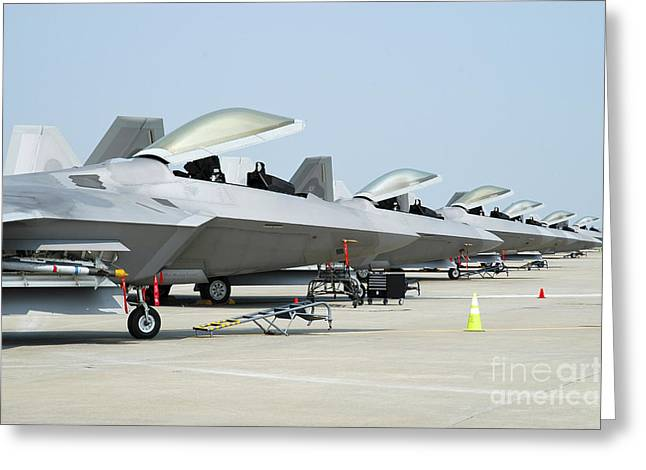 Us Open Photographs Greeting Cards - Line-up Of U.s. Air Force F-22a Raptors Greeting Card by Riccardo Niccoli