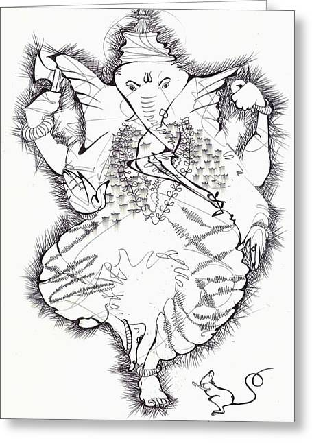 Work Place Drawings Greeting Cards - Linear black and white pen and ink Ganesh Greeting Card by Makarand Joshi