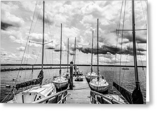 Sailboats At The Dock Greeting Cards - Lined Up At The Dock Greeting Card by Kathy Liebrum Bailey