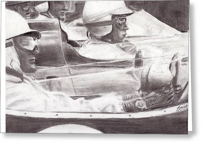 Stirling Moss Greeting Cards - Lined Up for the Start Greeting Card by Ryan Casillas