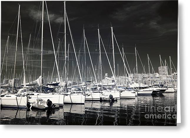 Sailboats Docked Greeting Cards - Lined Up in Marseille Greeting Card by John Rizzuto