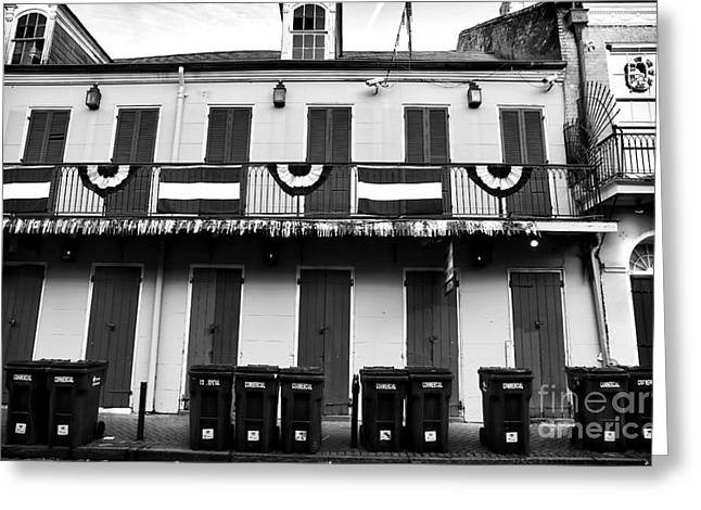Lined Up On Bourbon St Greeting Card by John Rizzuto