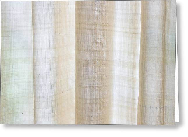 Blond Greeting Cards - Linen curtain Greeting Card by Tom Gowanlock