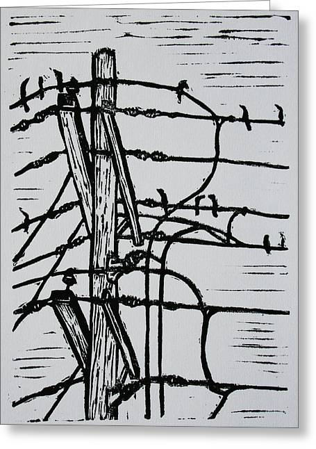 Linocut Linoluem Greeting Cards - Lines and Birds Greeting Card by William Cauthern