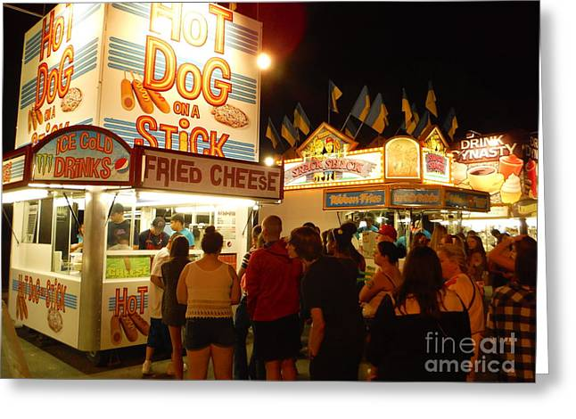 Hilliard Greeting Cards - Lines At Hot Dog On A Stick Greeting Card by Paddy Shaffer
