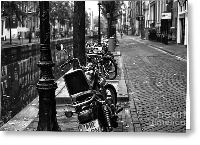 Canal Street Line Greeting Cards - Lines in Amsterdam mono Greeting Card by John Rizzuto