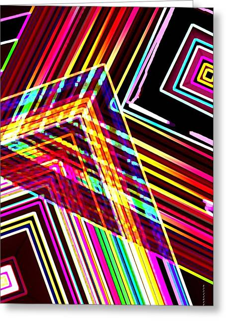 Green Surreal Geometry Greeting Cards - Lines in Geometric Shape  Greeting Card by Mario  Perez
