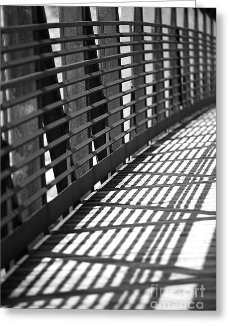 Metal Bridge Greeting Cards - Lines in the Light Greeting Card by Casey Hanson