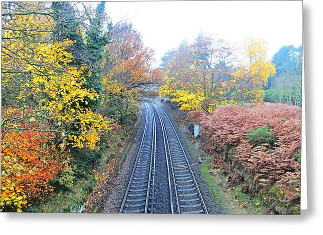 Railway Greeting Cards - Lines Through Colour Greeting Card by Johnny Wills
