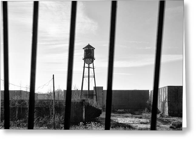 Limerick Greeting Cards - Linfield Industrial Park Water Tower Behind Bars Greeting Card by Bill Cannon