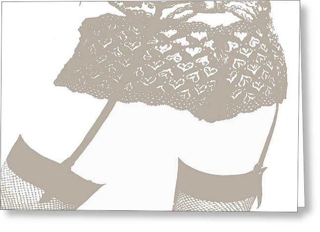 Sepia Chalk Greeting Cards - Lingerie III Greeting Card by John Silver